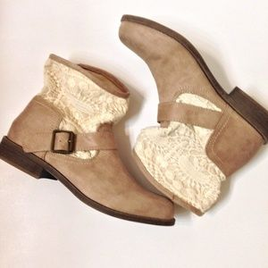 Mudd by Khol's| tan suede lace detail ankle bootie